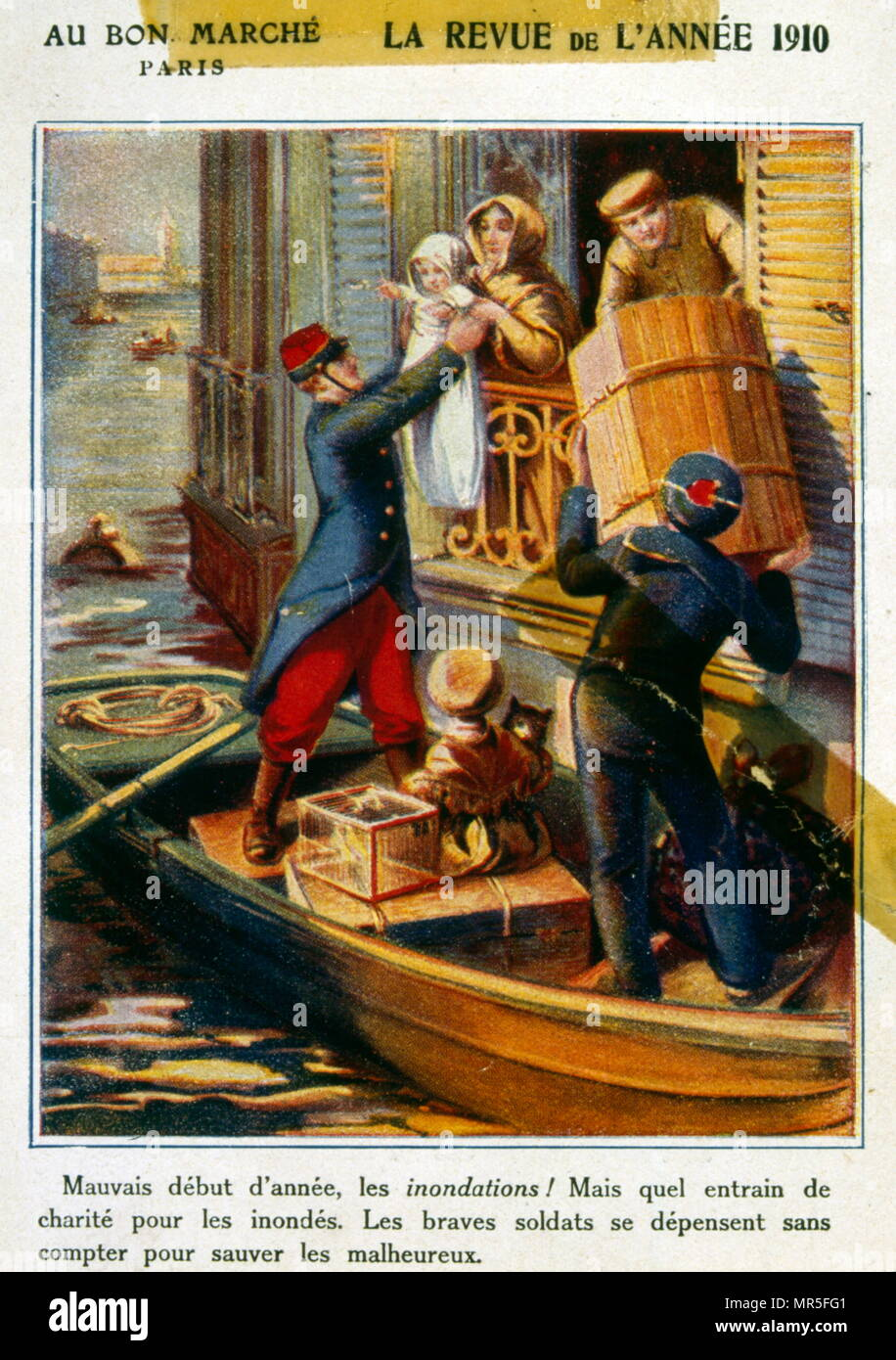 Chromolithograph from a chocolate wrapper, circa 1900, depicting French soldiers helping civilians during floods in Paris in 1889 - Stock Image