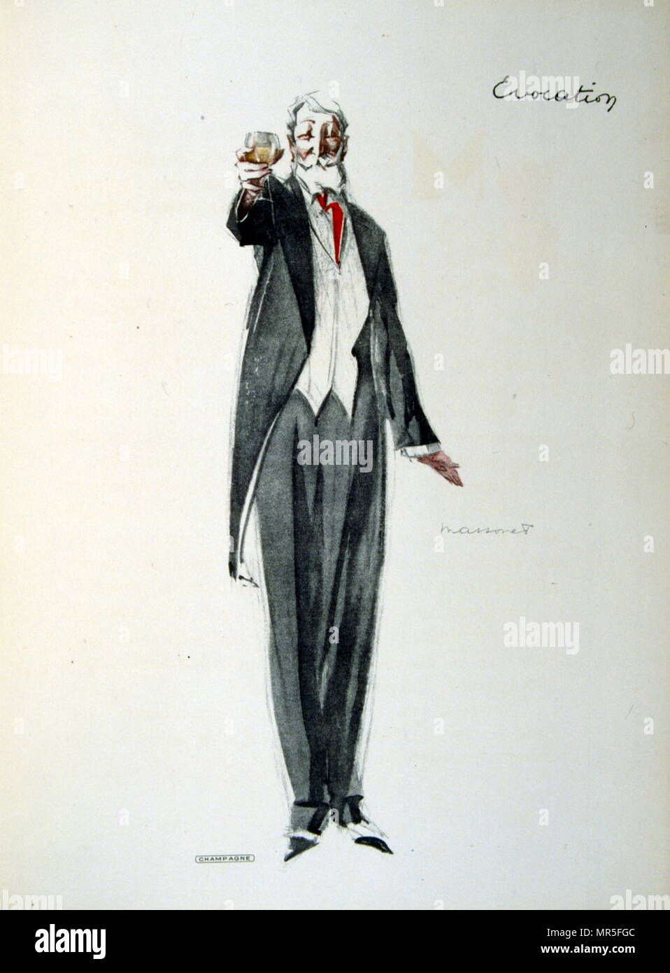 French 1930's illustration of a wealthy man holding a glass of champagne. - Stock Image