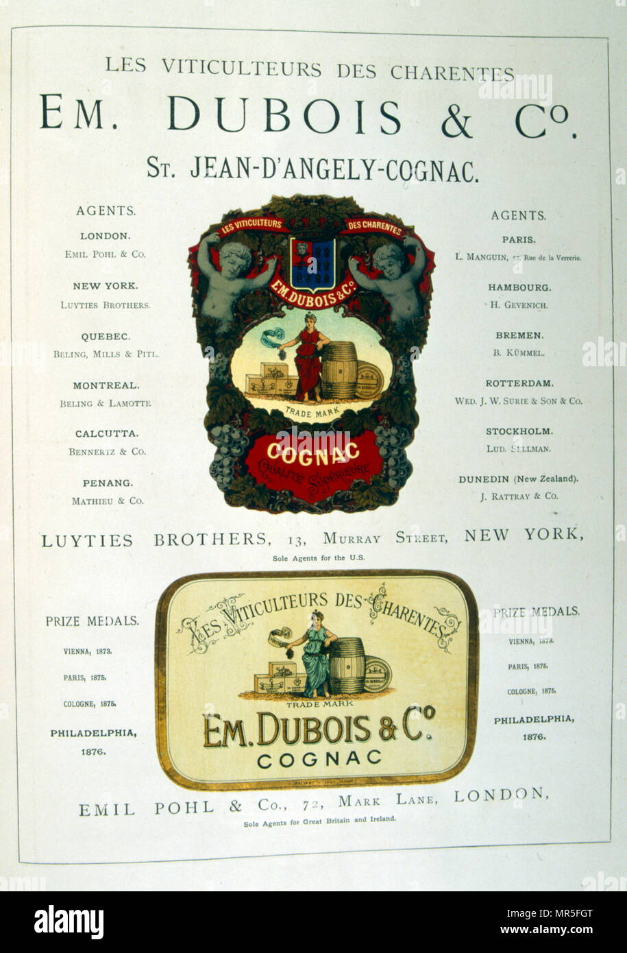 Advert for EM Dubois & Co, St Jean-D'Angely Cognac.  Brandy, showing their international agents for distribution 1877 - Stock Image
