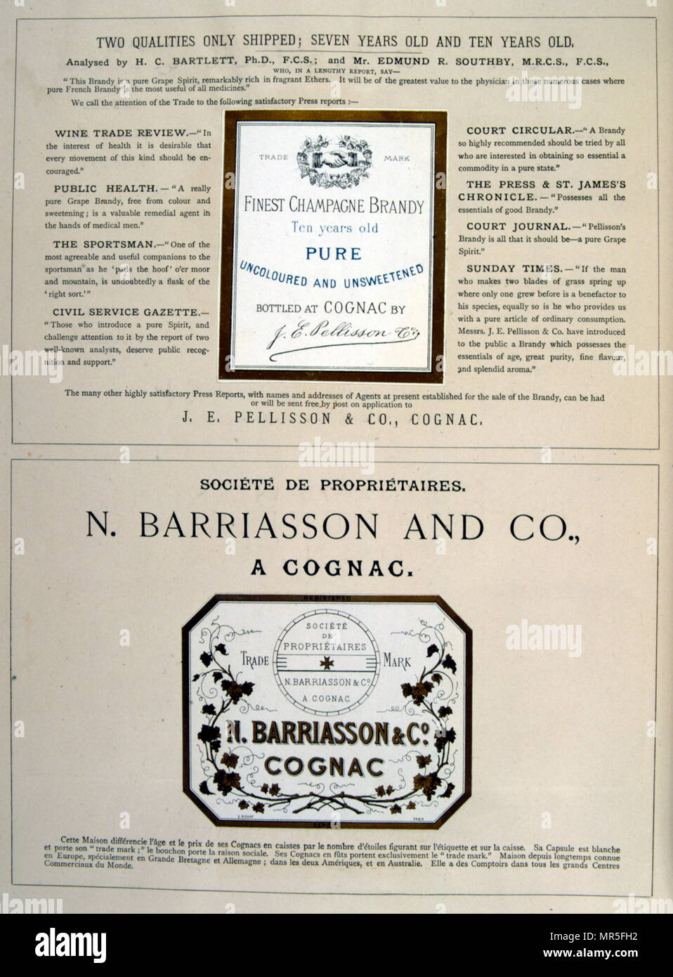 Advert for Pellisson and Barriasson, brandy Cognac.  1877 Stock Photo