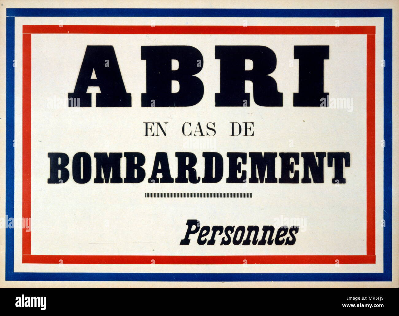 Take cover in case of bombing. French World War two civil defence poster circa 1941 - Stock Image