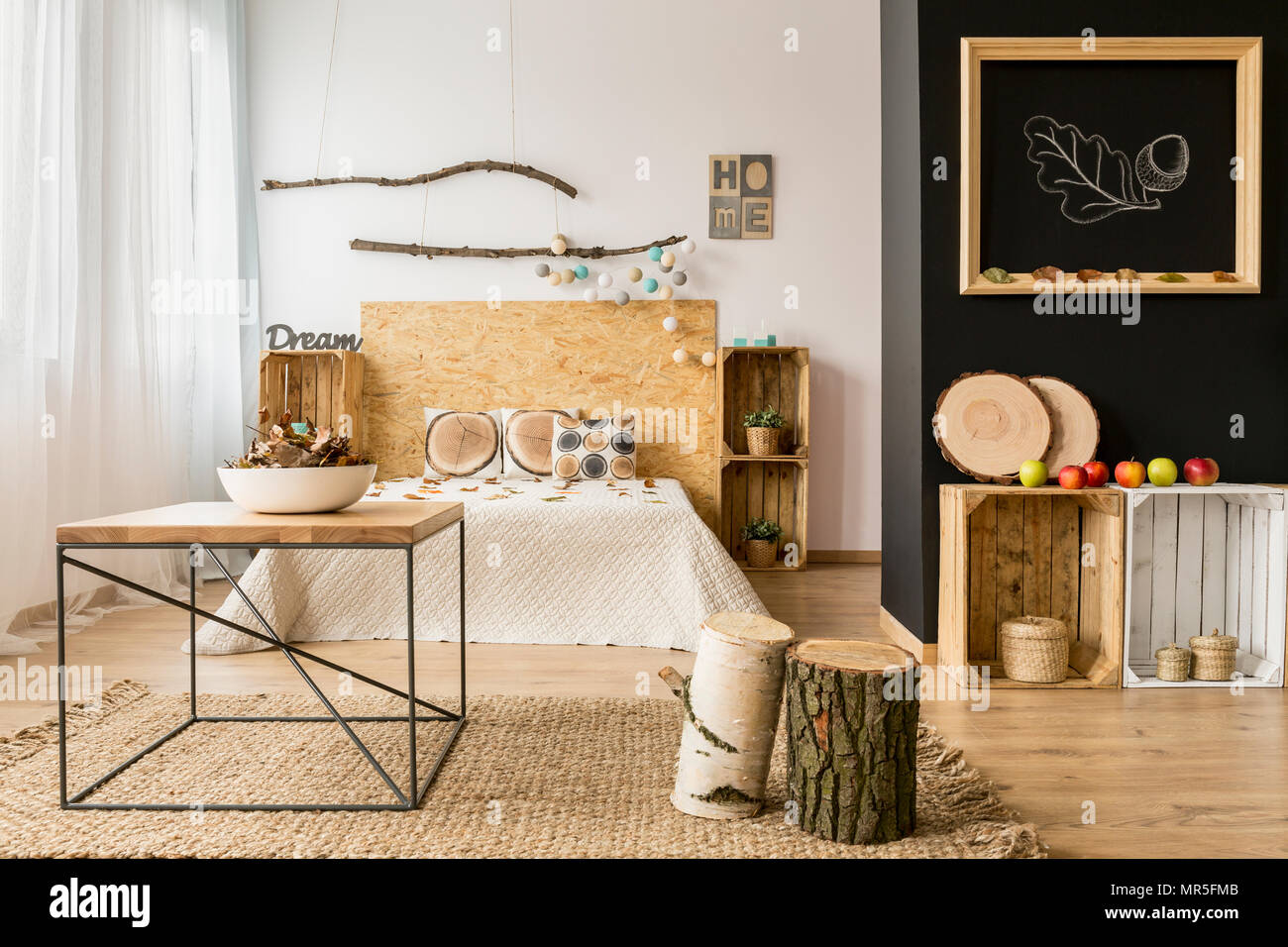 Light And Spacious Bedroom With Black And White Wall And Eco Diy Wooden Furniture Stock Photo Alamy