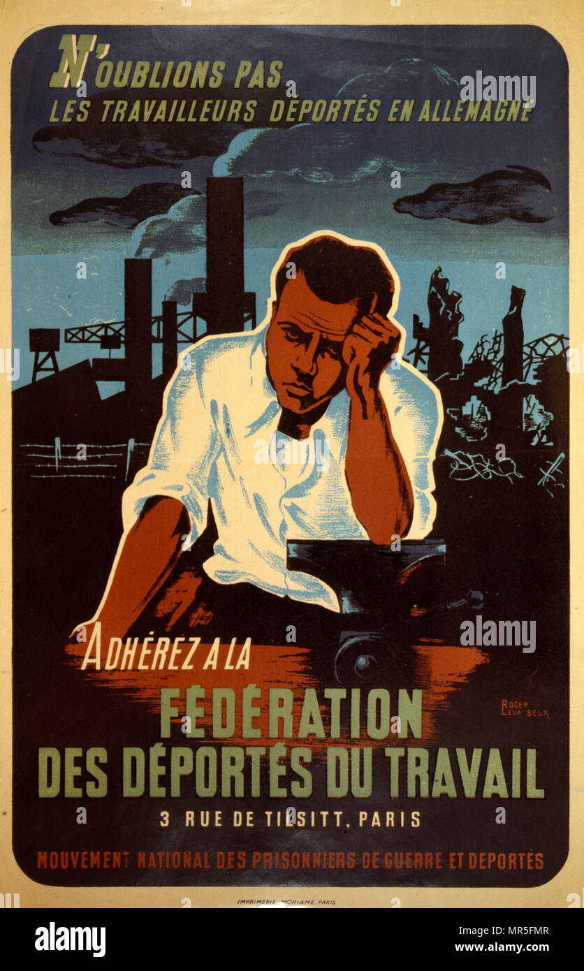 French World War two resistance movement, propaganda poster concerning  French prisoners of war 1944. Issued by the 'Mouvement National des Prisonniers de Guerre et Déportés (MNPGD); ', directed by François Mitterrand, a clandestine movement where the Prisoners of War made an important contribution to the Resistance Stock Photo