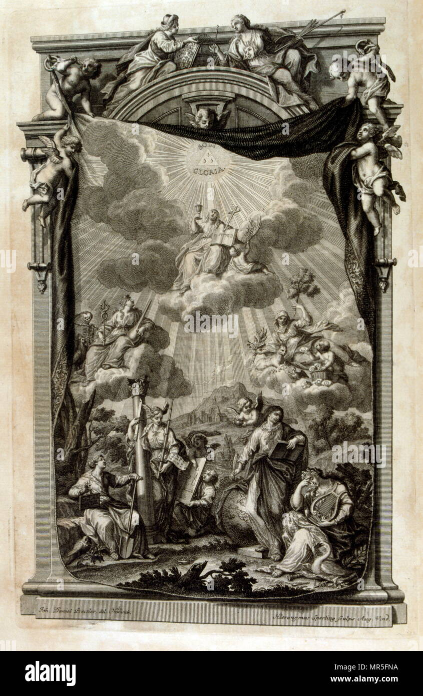 Frontispiece of 'Physique sacrée, ou Histoire naturelle de la Bible' 1732. Translated from Latin by Jean Jacques Scheuchzer (1672 – 1733); Swiss scholar born at Zurich. Engravings by Jean André Pfeffel - Stock Image