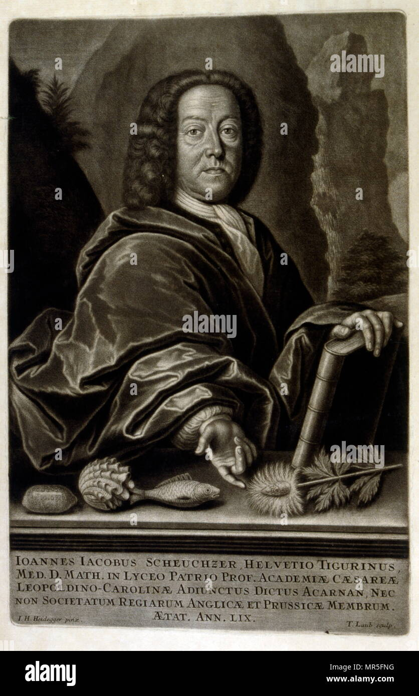 portrait of Jean Jacques Scheuchzer from  'Physique sacrée, ou Histoire naturelle de la Bible' 1732. Translated from Latin by Jean Jacques Scheuchzer (1672 – 1733); Swiss scholar born at Zurich. Engravings by Jean André Pfeffel - Stock Image