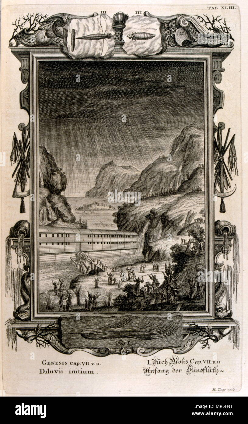 The Great flood; illustrated in 'Physique sacrée, ou Histoire naturelle de la Bible' 1732. Translated from Latin by Jean Jacques Scheuchzer (1672 – 1733); Swiss scholar born at Zurich. Engravings by Jean André Pfeffel - Stock Image