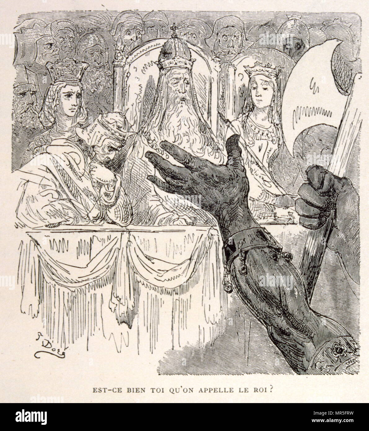 Illustration of an appeal to the King, from La legende de Croque-Mitaine; (1863); Drawn by Gustave Dore 1832-1883. The French equivalent of the Bogeyman is le Croque-Mitaine ('the mitten-biter' or rather 'the hand-cruncher'. A Bogeyman is a common allusion to a mythical creature in many cultures used by adults to frighten children into good behaviour. - Stock Image
