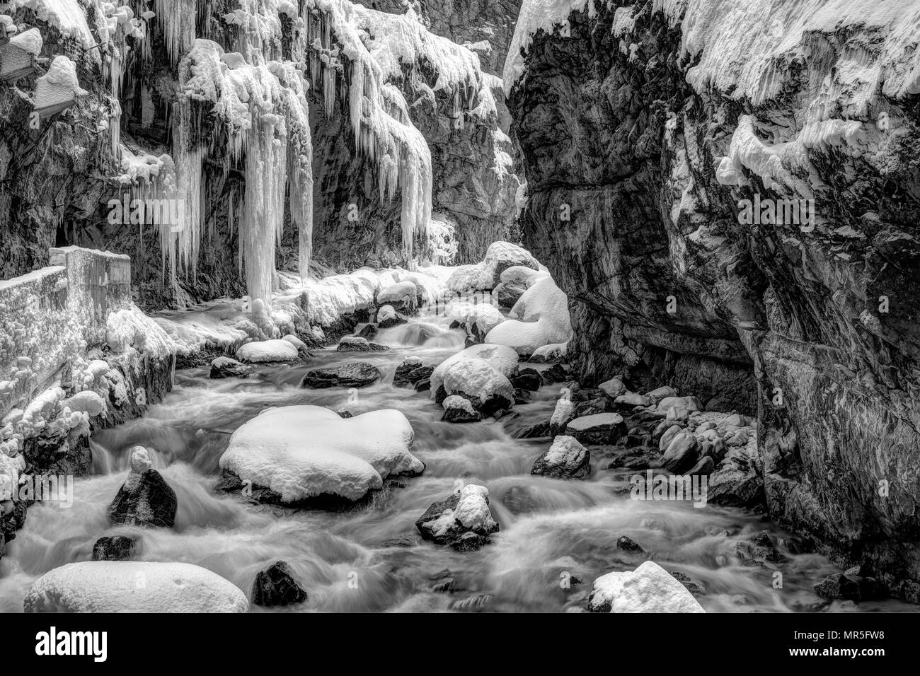 Winter in Bavaria - Partnach Gorge. Winter in Bayern - Partnachklamm. Stock Photo