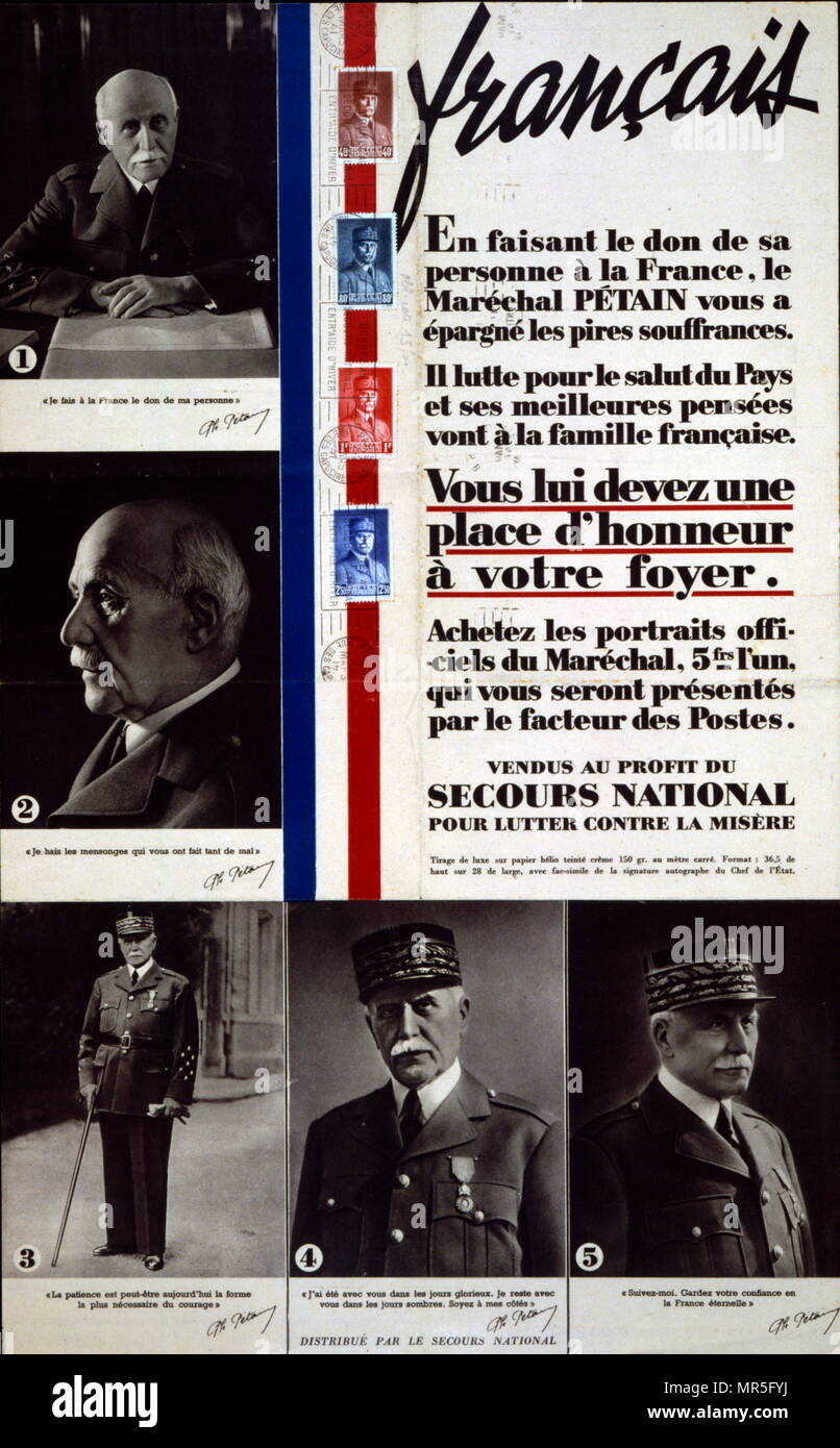 French world war two poster appealing for citizens to raise funds by buying portraits of Marshall Philippe Petain the Vichy French Leader. Stock Photo