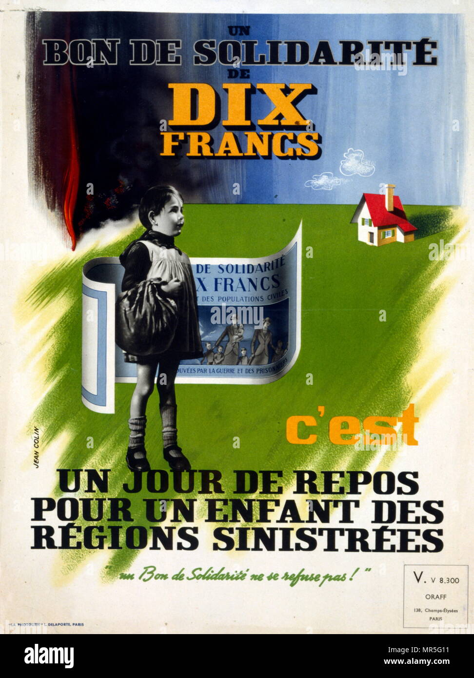 French world war two poster appealing for citizens to raise funds evacuated children in unfamiliar places in France - Stock Image