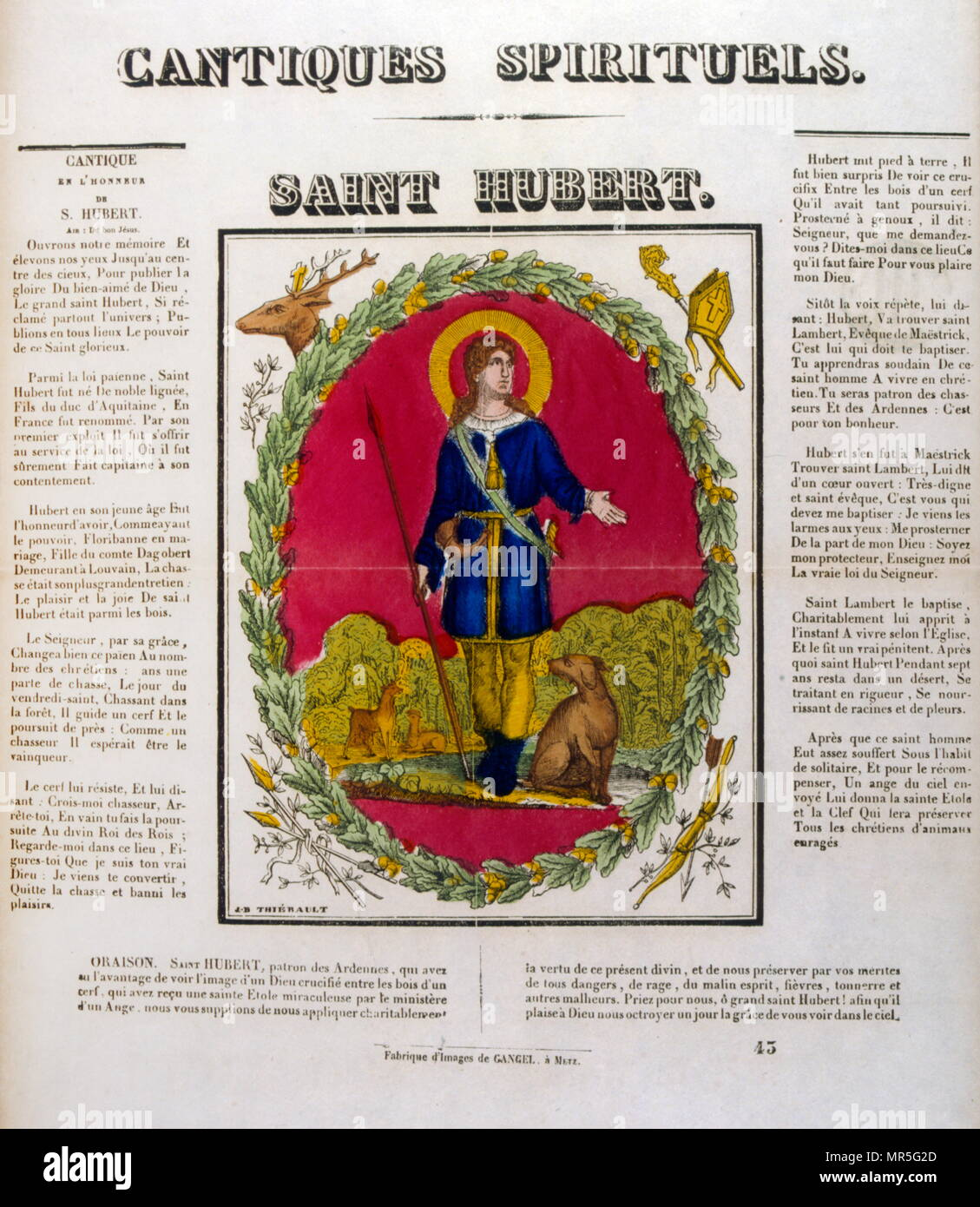 French 19th century illustration of Saint Hubertus or Hubert (c. 656 – 30 May 727); Bishop of Liège in 708 AD. He is a Christian saint who is the patron saint of hunters, mathematicians, opticians, and metalworkers. Known as the Apostle of the Ardennes, he was called upon, until the early 20th century, to cure rabies through the use of the traditional St Hubert's Key - Stock Image
