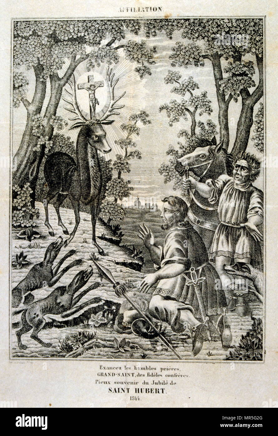 French 18th century illustration of Saint Hubertus or Hubert (c. 656 – 30 May 727); Bishop of Liège in 708 AD. He is a Christian saint who is the patron saint of hunters, mathematicians, opticians, and metalworkers. Known as the Apostle of the Ardennes, he was called upon, until the early 20th century, to cure rabies through the use of the traditional St Hubert's Key - Stock Image