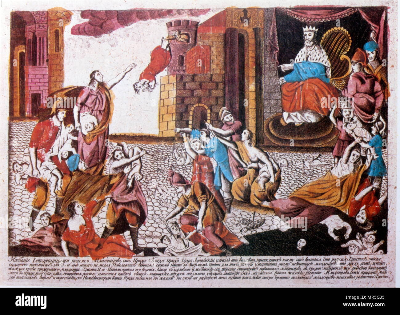 French 19th century illustration depicting the Massacre of the Innocents; the biblical account of infanticide by Herod the Great, the Roman-appointed King of the Jews Stock Photo