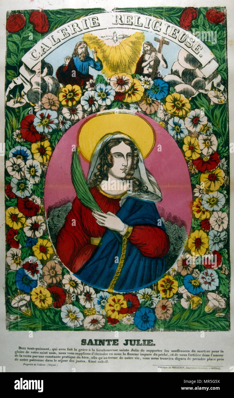 French 19th century illustration depicting  Saint Julie Billiart (12 July 1751 — 8 April 1816); a French religious leader and Christian Saint, who founded, and was the first Superior General of, the Congregation of the Sisters of Notre Dame de Namur. - Stock Image