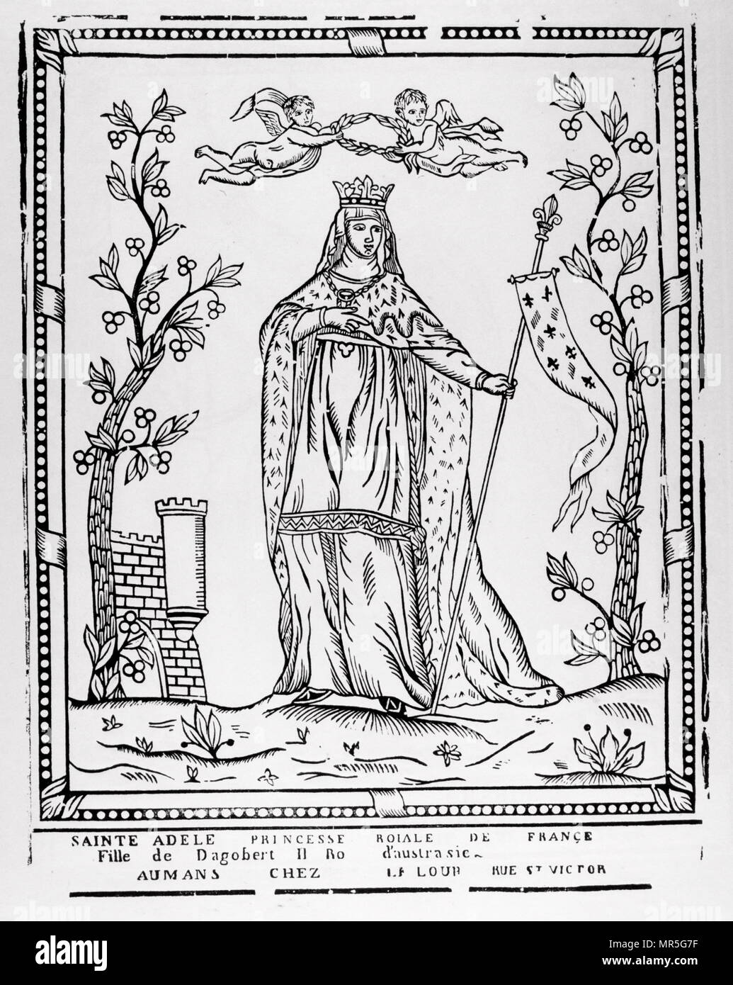 French 19th century, illustration, showing Saint Adele (died 730 AD); daughter of King Dagobert II of Germany. She married and had a son, who would become the father of Saint Gregory of Utrecht. After the passing of her husband, and after she made arrangements to provide for her son, Adele became a nun. She established a convent at Palatiolum and became its first abbess - Stock Image