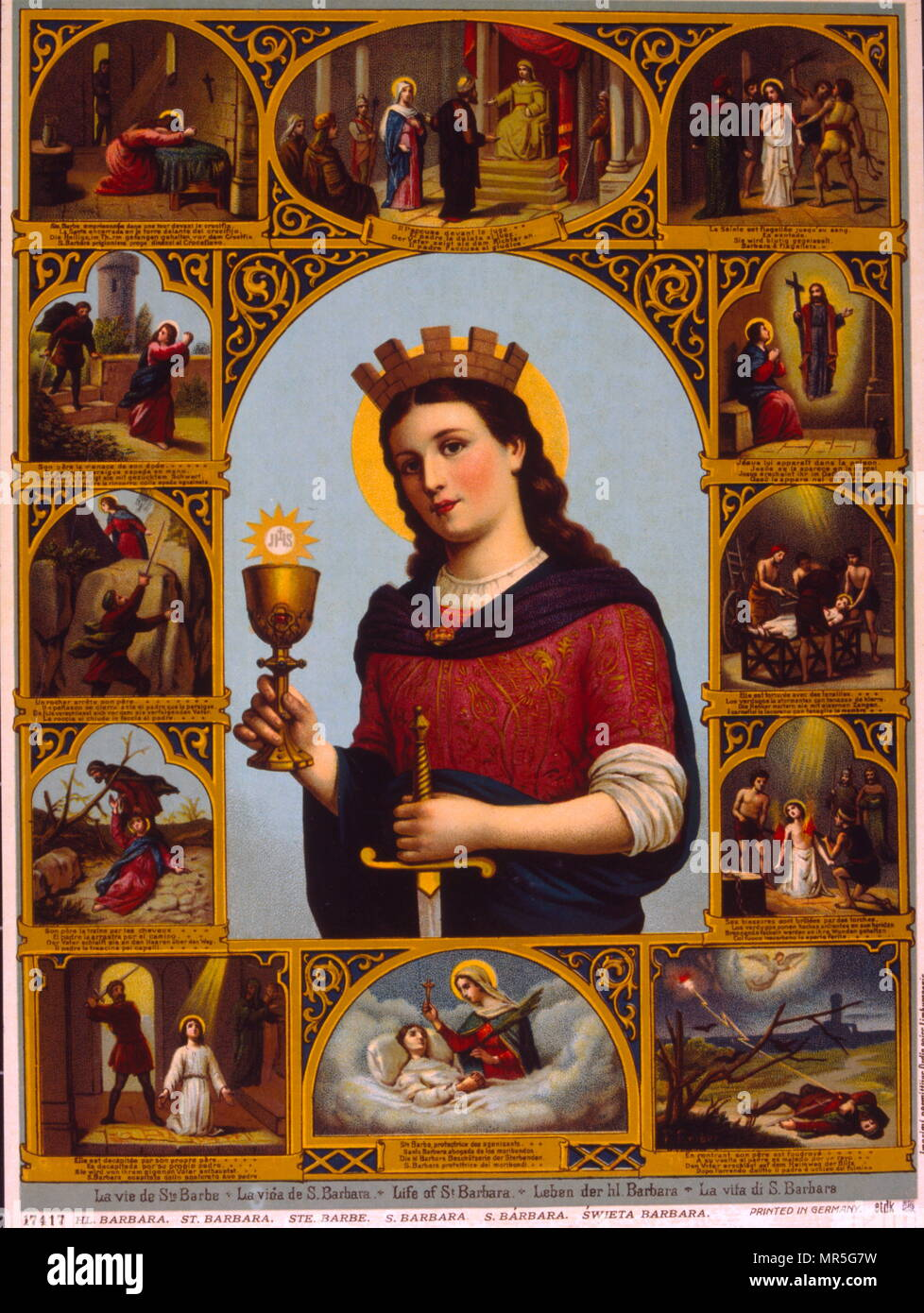 French 19th century, illustration, showing Saint Barbara, known in the Eastern Orthodox Church as the Great Martyr Barbara, was an early Christian Greek saint and martyr. Accounts place her in the 3rd century in the Greek city Nicomedia, present-day Turkey or in Heliopolis of Phoenicia, present-day Baalbek, Lebanon. - Stock Image