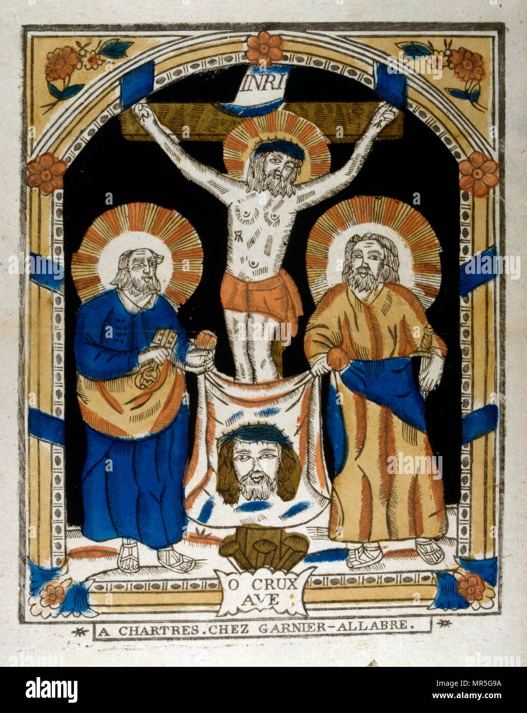 French 19th century, illustration, showing the crucified Christ with two apostles,  Woodcut circa 1830 - Stock Image