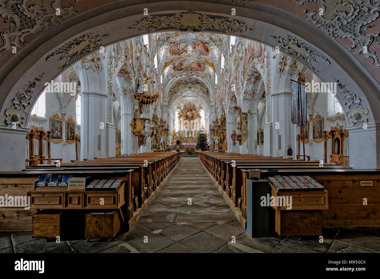 Rottenbuch - Parish Church of the Mary's birth. Rottenbuch - Pfarrkirche Mariä Geburt. Stock Photo