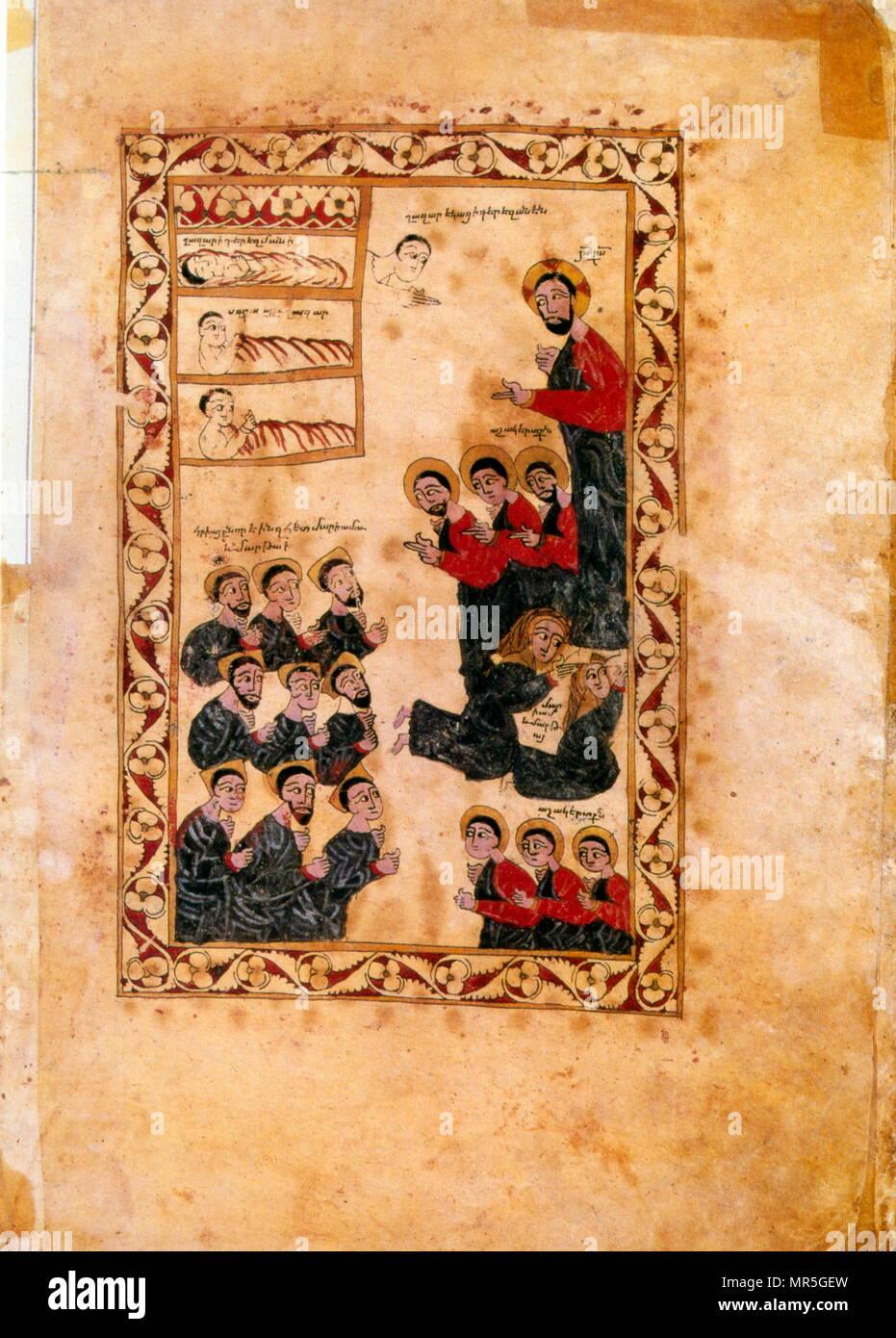 14th century, Armenian Evangelical manuscript, the resurrection of Lazarus - Stock Image