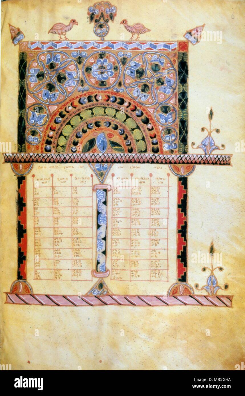 13th century, Armenian canonical Concordance manuscript. 1224 - Stock Image