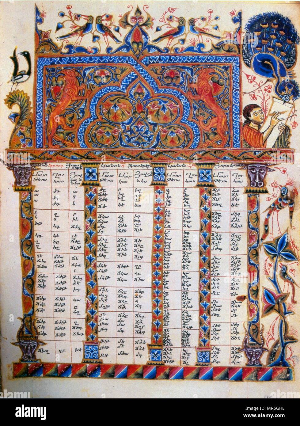 14th century, Armenian canonical Concordance manuscript. 1224 - Stock Image