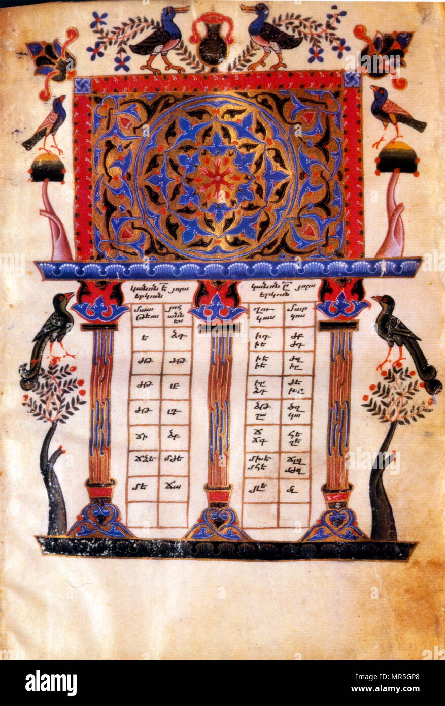 Armenian Christian illustrated manuscript showing a canonical concordance; 13th century - Stock Image