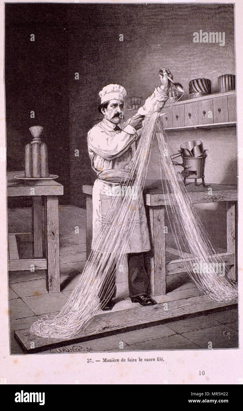 a chef separating and shaping thin strings of sugar for a dessert, from 'Le Livre De patisserie' 1867 by Jules Gouffe. chromolithograph - Stock Image