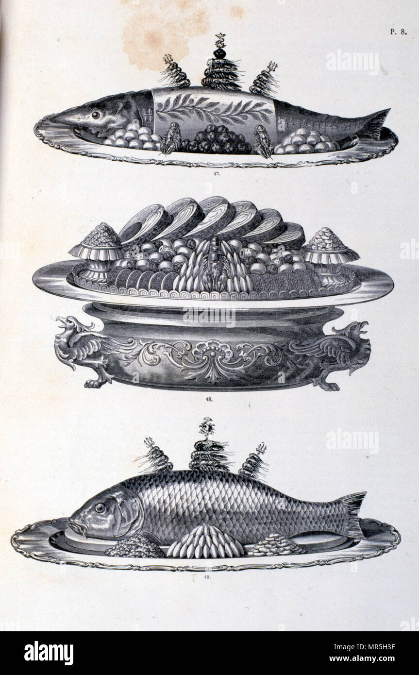 La Cuisine Classique illustration of fish dishes in 'la cuisine classique'dubois and