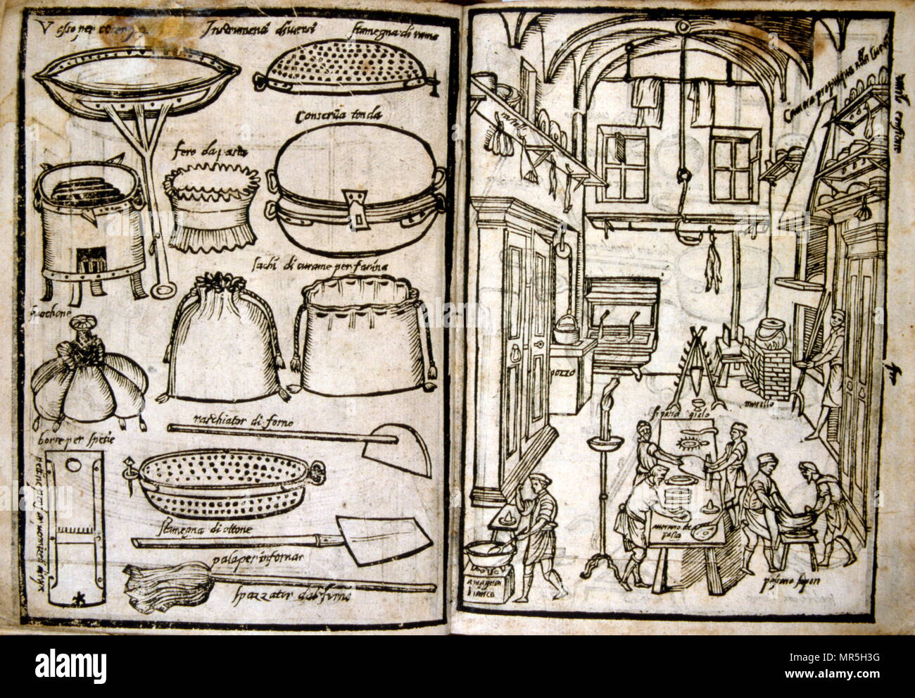 Woodcut illustrations of a renaissance kitchen and equipment. From 'Opera dell'arte del cucinare' by Bartolomeo Scappi (c. 1500 – 1577), an important Italian Renaissance chef. He acquired fame in 1570 when his monumental cookbook Opera dell'arte del cucinare, was published. In the book he lists approximately 1000 recipes of the Renaissance cuisine and describes cooking techniques and tools - Stock Image