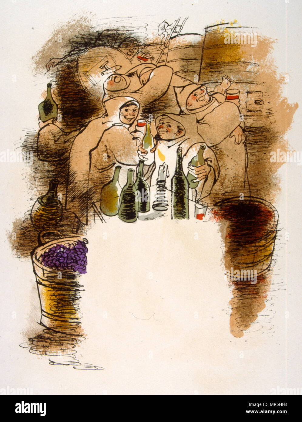 Humorous Wine Illustration 1946, Illustration by Julien Pavil, (1895-1952), French 20th century illustrator, humourist and poster artist. He illustrated several books between 1929 and 1945. - Stock Image