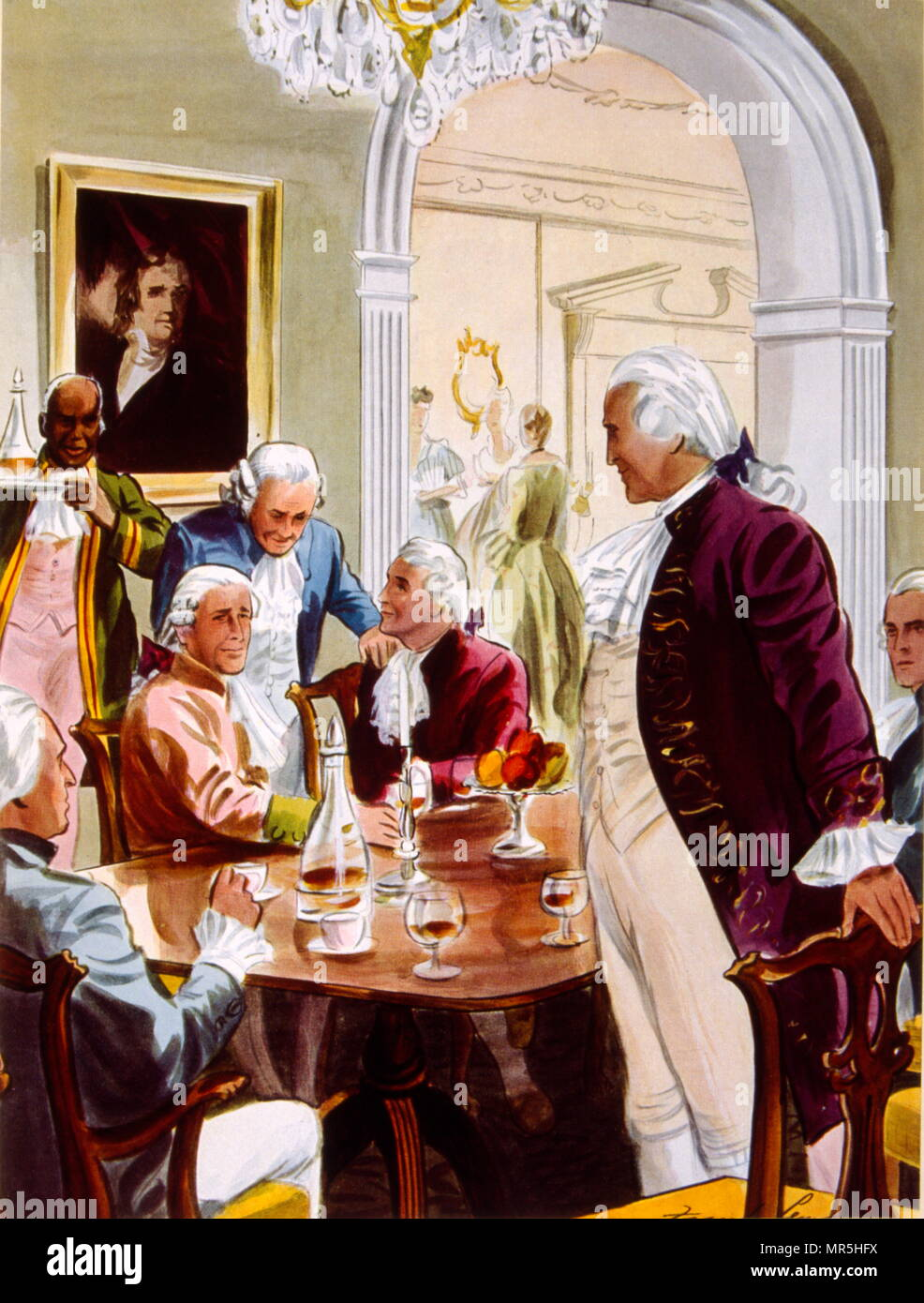 An African American slave servant serves drinks to George Washington at a meeting with the founding fathers of America at the time of the first Presidency 1789-97. Cognac Hennessy advertisement,  1938 - Stock Image