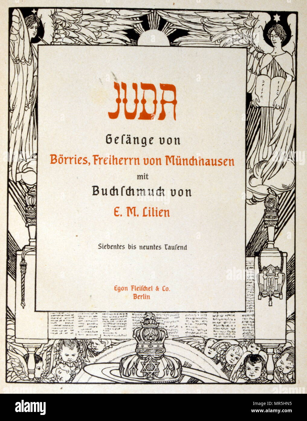 """Judah', a collection of ballads by the non-Jewish poet Börries von Münchhausen 1874 - 1945. Illustrated by Ephraim Moses Lilien (1874–1925), art nouveau illustrator and printmaker, noted for his art on Jewish themes. He is sometimes called the """"first Zionist artist. Münchhausen's relationship to Judaism remained ambivalent: Munchhausen did not consider the """"Jewish race"""" inferior, but merely wanted to prevent a """"mixture"""" with the non-Jewish Germans. Stock Photo"""