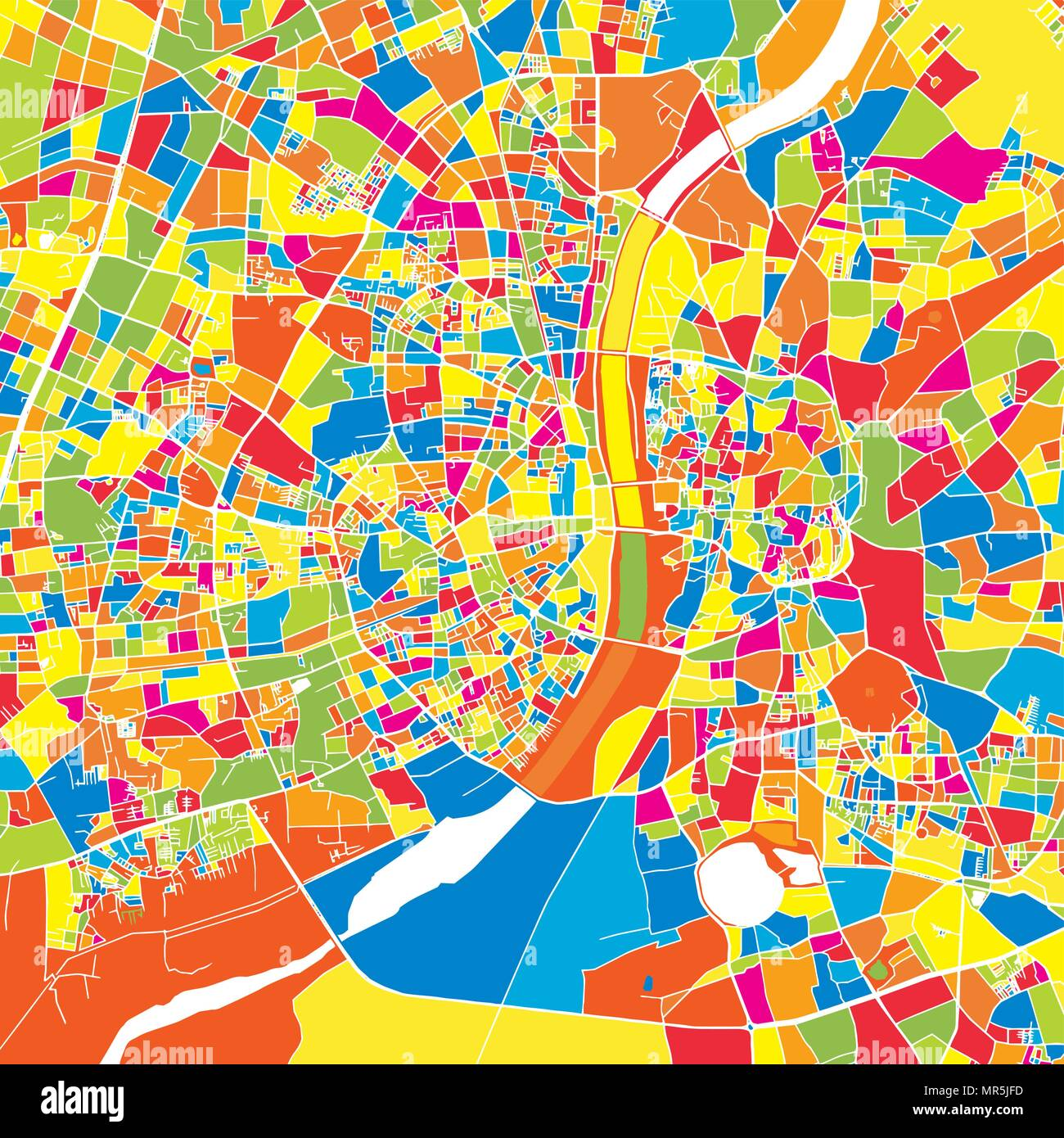 Ahmedabad, India, colorful vector map.  White streets, railways and water. Bright colored landmark shapes. Art print pattern. - Stock Vector