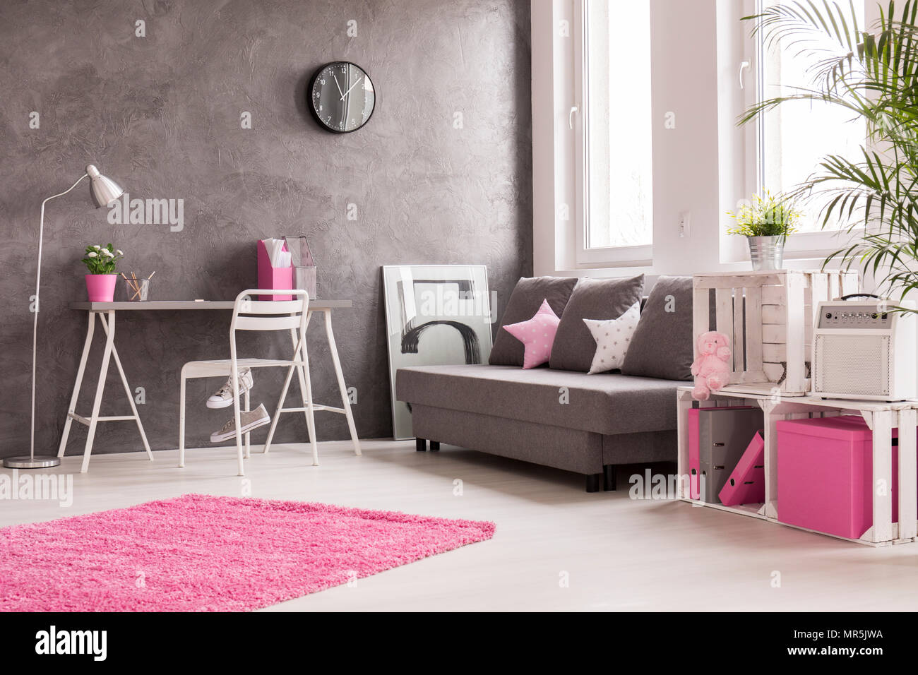 Spacious Interior In Grey, Pink And White With Desk, Office, Lamp, Sofa And  Bookcase