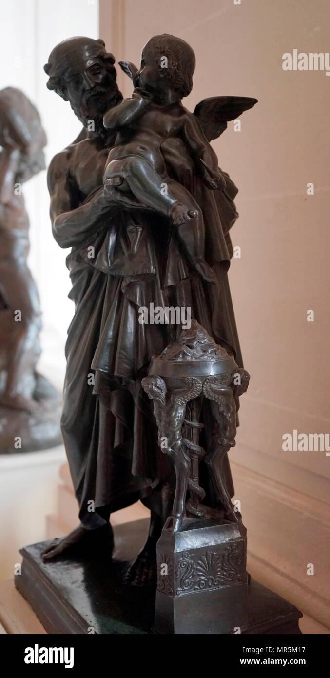 Anacreon et l'Amour; 1845. Bronze sculpture by Jean-Jacques, (James Pradier); 1790 — 1852 - Stock Image