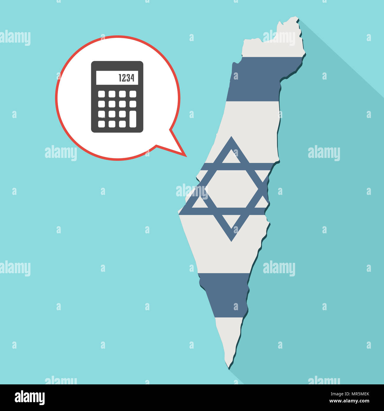 illustration of a long shadow israel map with its flag and a comic