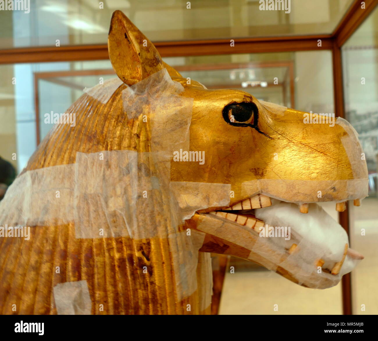 Guardian creature embellishing the Gilded bed of King Tutankhamen.  sculpted in the shape of Ammut, a fearsome composite creature made from a hippopotamus, lion and crocodile. 1323 BC Stock Photo