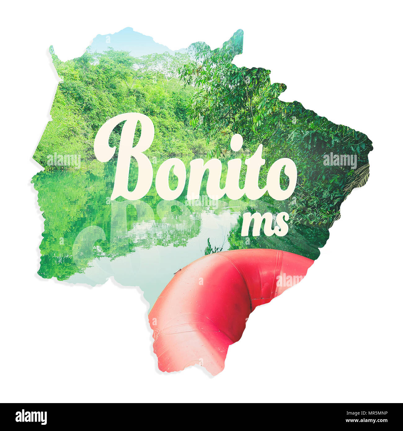 Map of Mato Grosso do Sul state with image of Bonito MS inside, the eco touristic city, written 'Bonito MS'. Illustration concept with a photo of boat Stock Photo