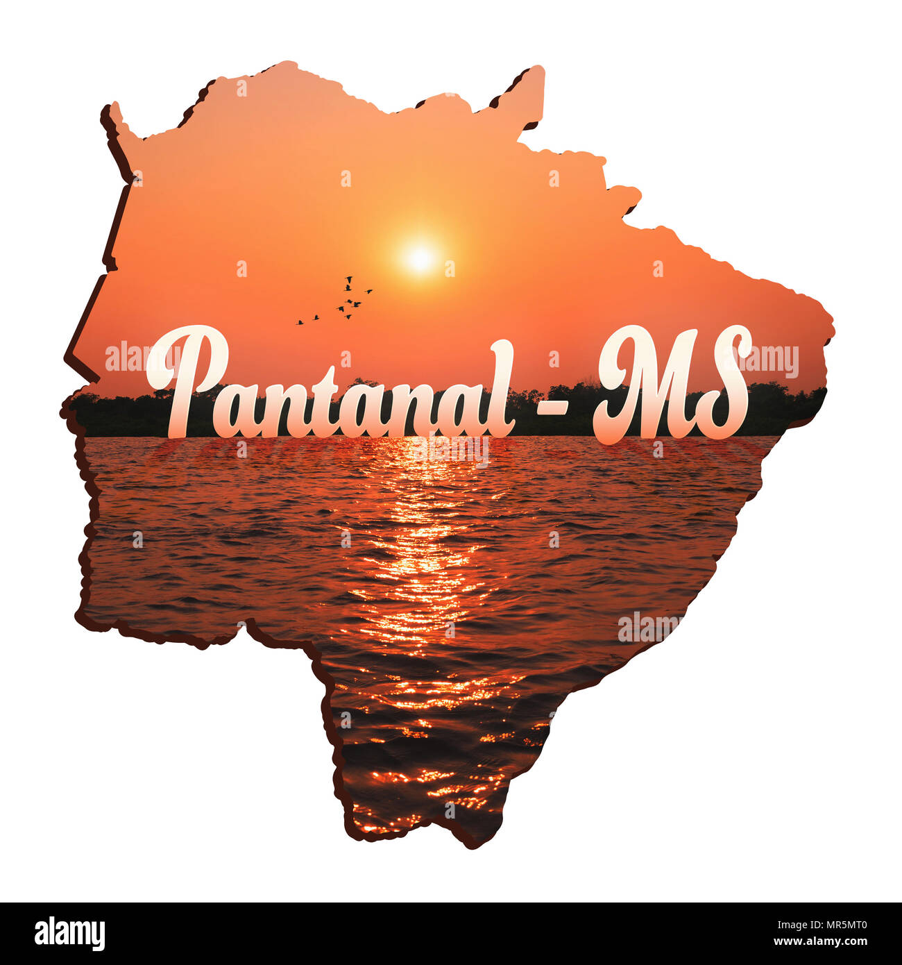 Map of Mato Grosso do Sul state, illustration concept of the Pantanal MS. Outlines of the MS state with the beautiful nature of the Pantanal Sul-Mato- Stock Photo