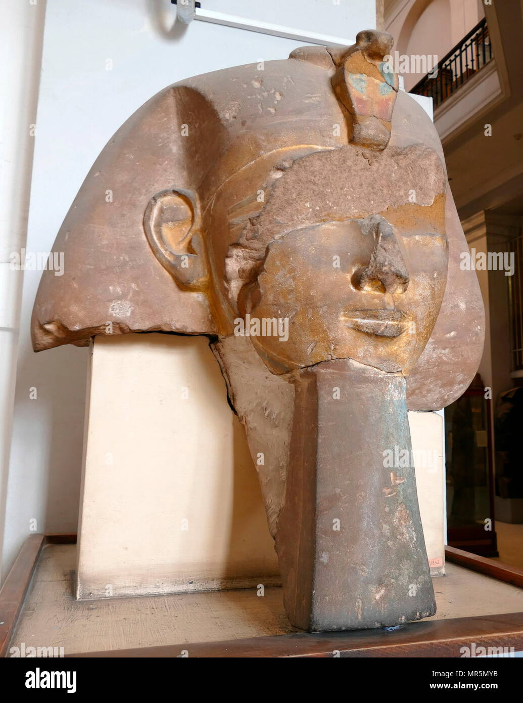 Stone head from a colossal statute of an 18th Dynasty Pharaoh, Possibly Queen Hatshepsut (1507–1458 BC), the fifth pharaoh of the Eighteenth Dynasty of Egypt. - Stock Image