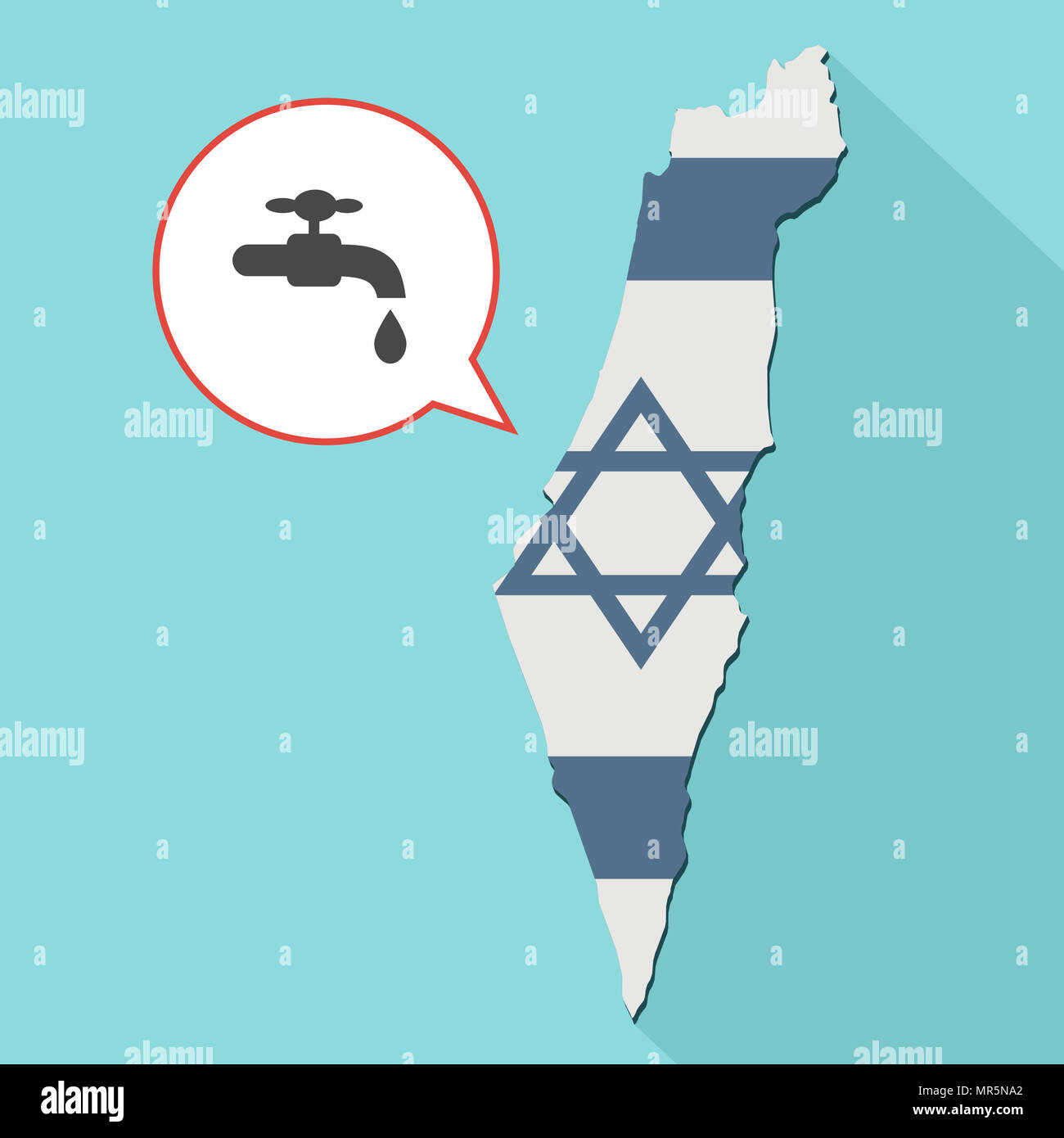 Illustration of a long shadow Israel map with its flag and a comic balloon with a faucet - Stock Image