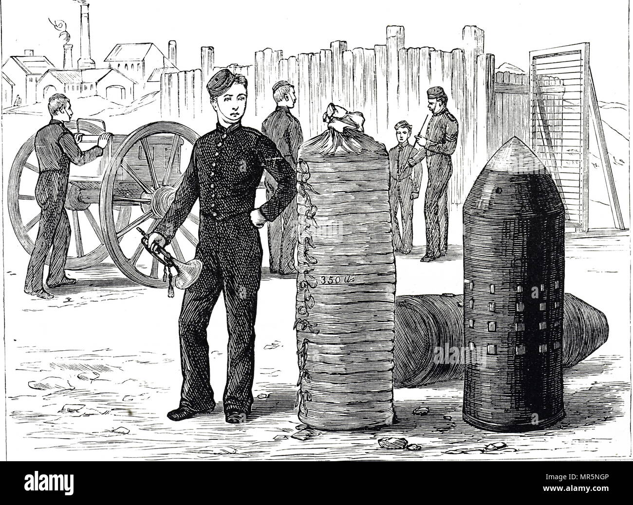 Engraving depicting a shell for an 80-ton gun. Dated 19th century - Stock Image