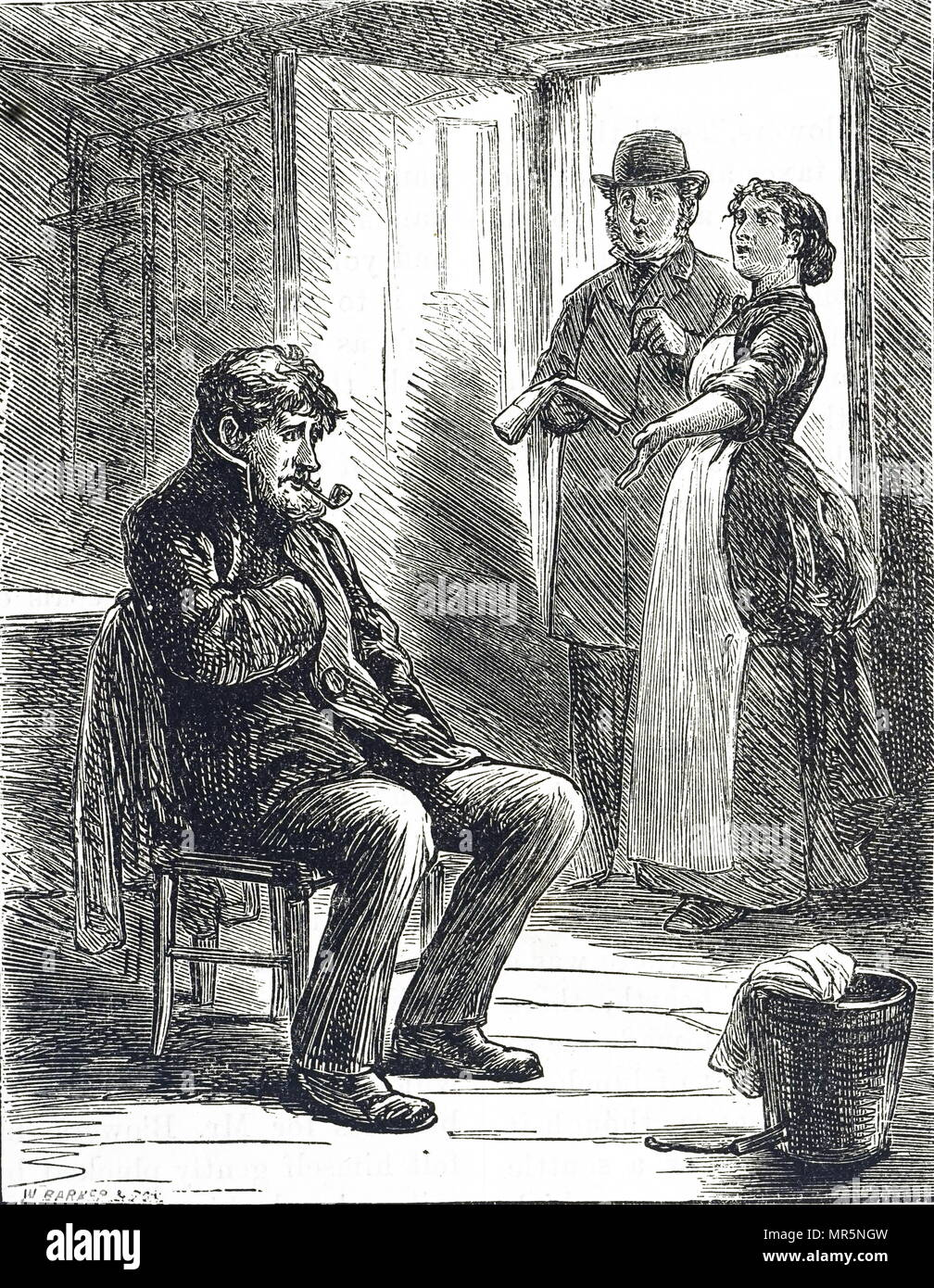 Engraving depicting a rent collector coming for his money. The wife explains that she has no money as her husband smokes all their money. Dated 19th century - Stock Image