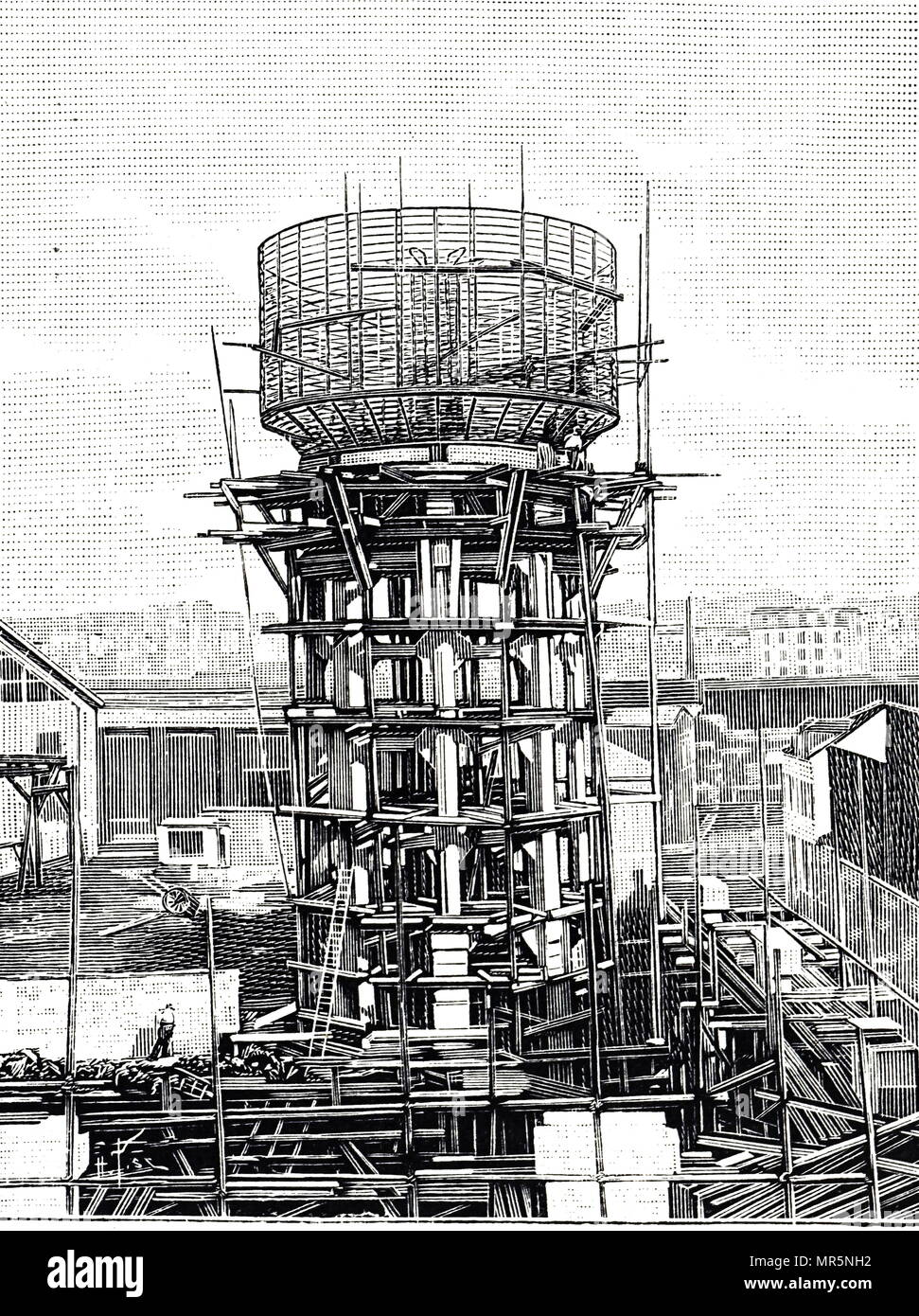 Engraving depicting a water tower being reinforced with concrete. Dated 20th century - Stock Image