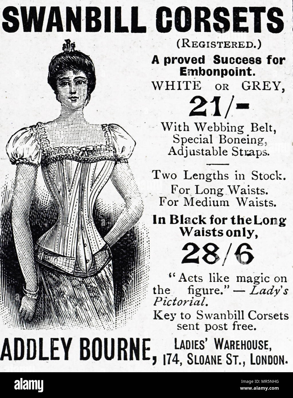 e1c2c93d621 Advertisement for Swanbill Corsets made with whalebone. Dated 19th century  - Stock Image