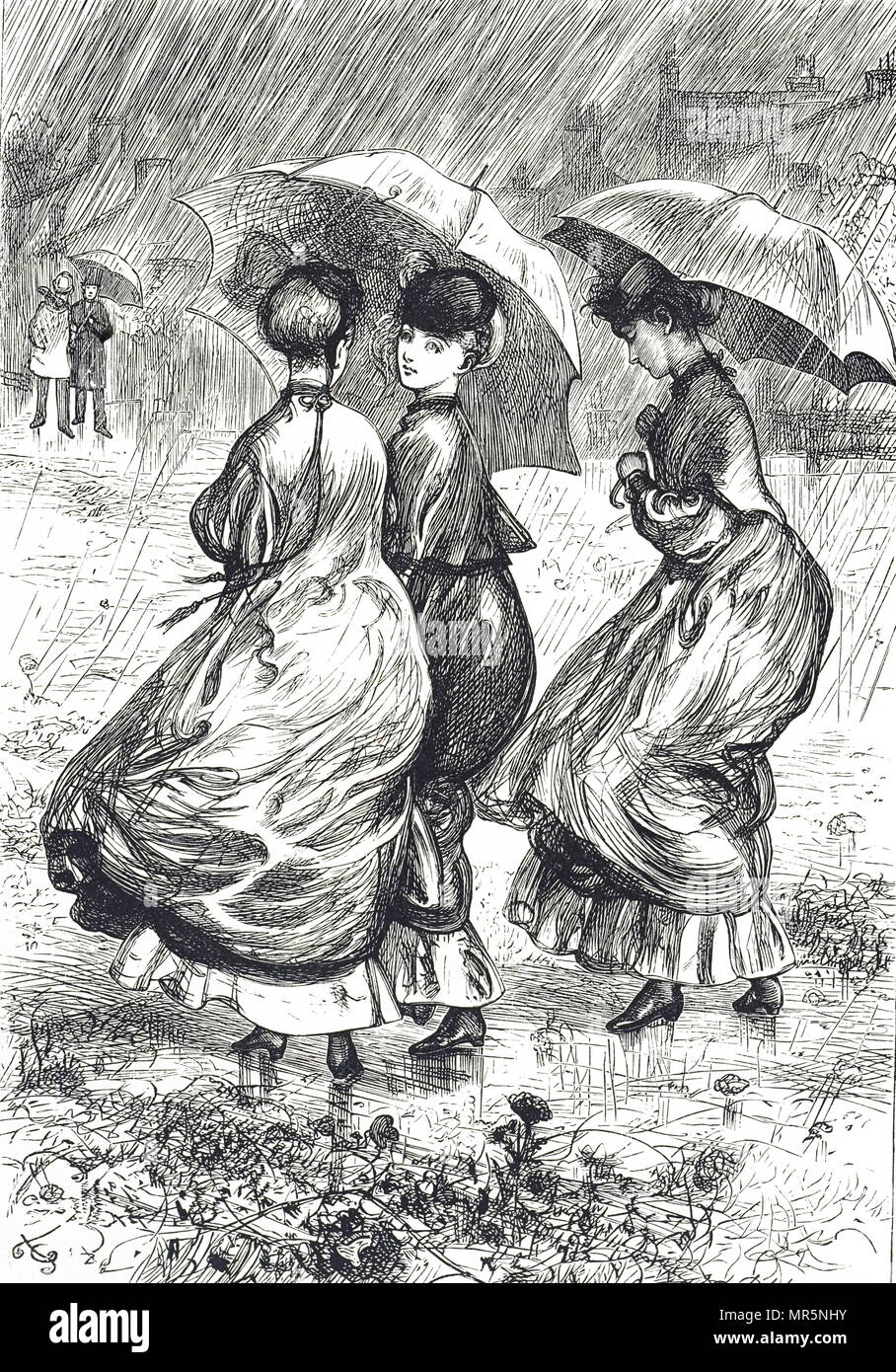 Engraving Depicting Young Women Huddling Under Umbrellas During A Rain Storm Illustrated By Gordon Thomson A British Illustrator And Artist Dated 19th Century Stock Photo Alamy