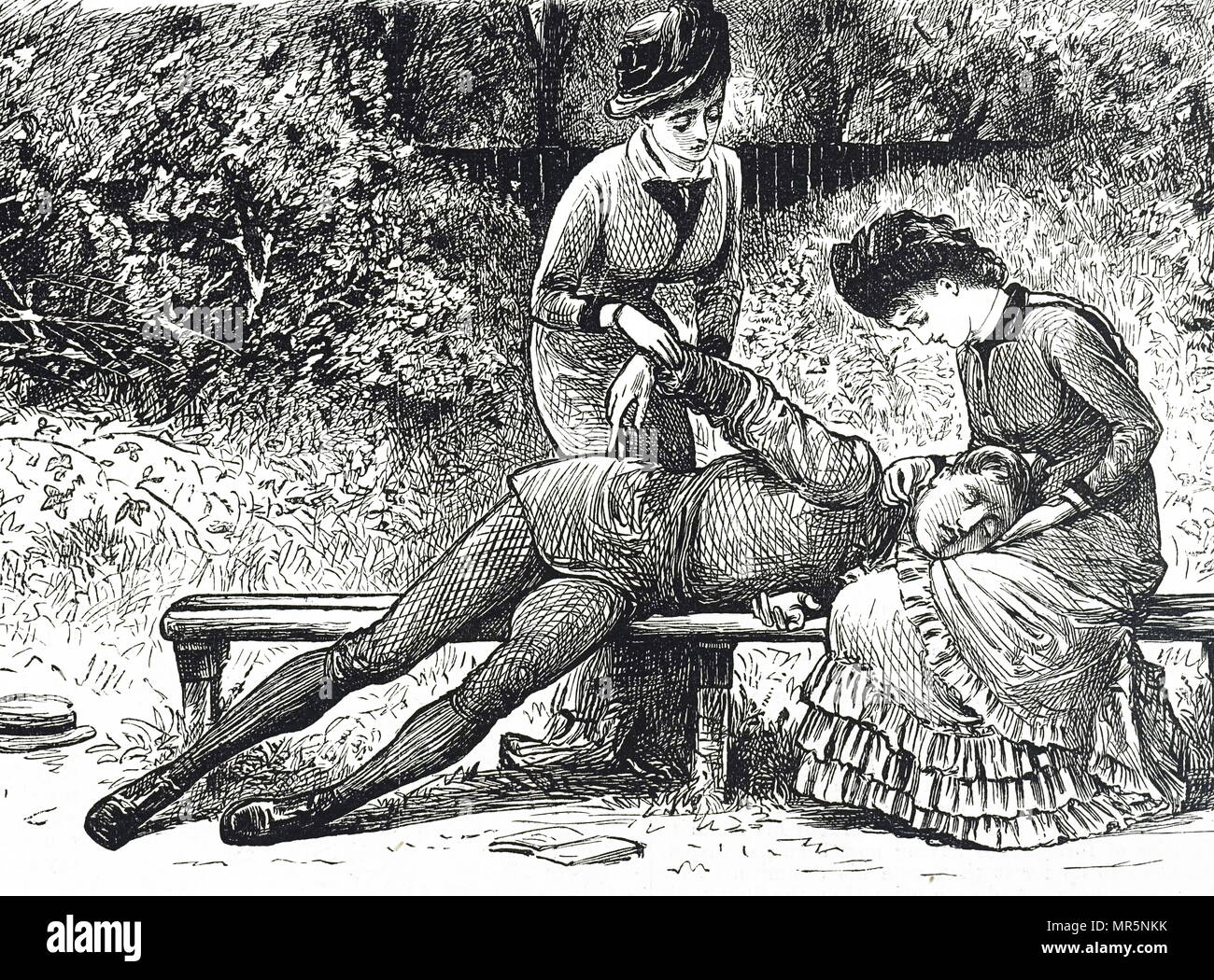 Engraving depicting first aid trained ladies treating a young man who has collapsed. Dated 19th century - Stock Image