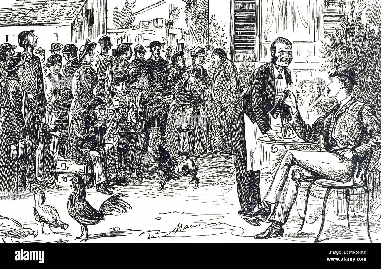 Cartoon depicting the early days of the Thomas Cook guided tour. Illustrated by George du Maurier (1834-1896) a Franco-British cartoonist and author. Dated 19th century - Stock Image