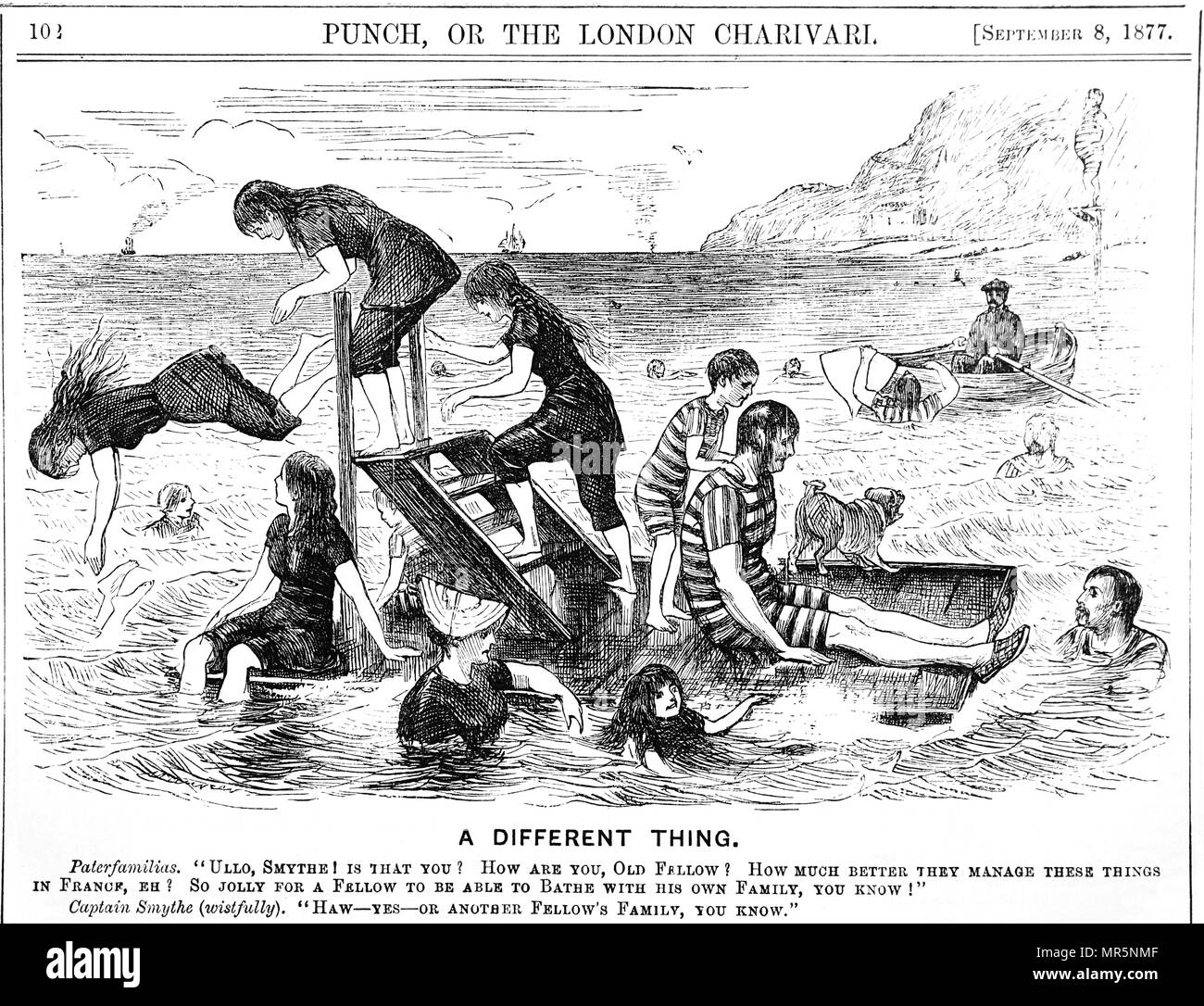 Cartoon depicting holidaymakers enjoying a seaside holiday in France. Illustrated by George du Maurier (1834-1896) a Franco-British cartoonist and author. Dated 19th century - Stock Image