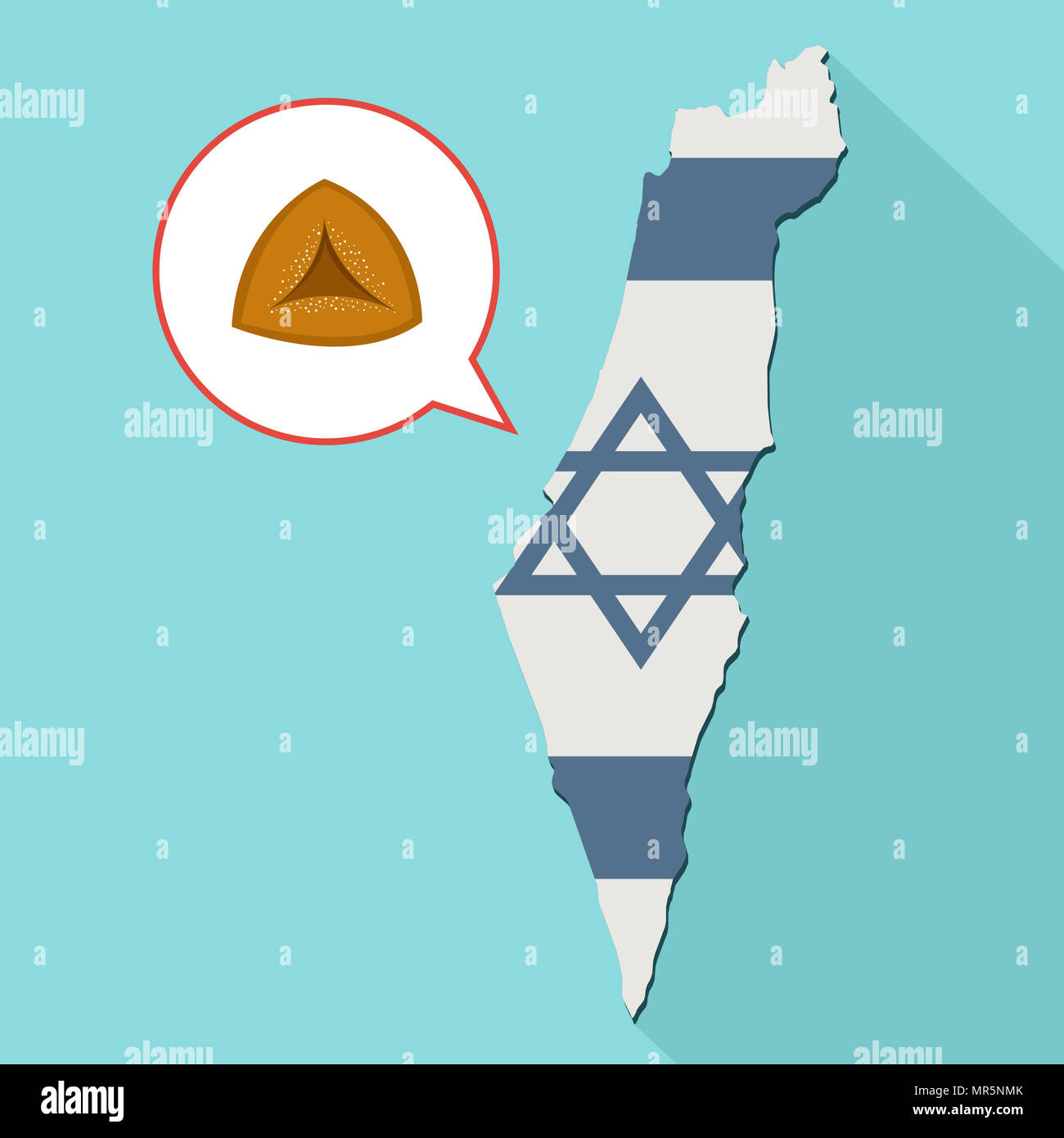 Illustration of a long shadow Israel map with its flag and a comic balloon with a hamantash - Stock Image